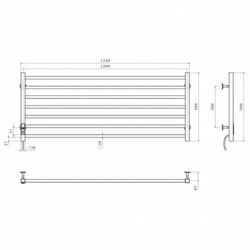 купить электрический полотенцесушитель Level П7 1200х500 Э левое подключение (черный)