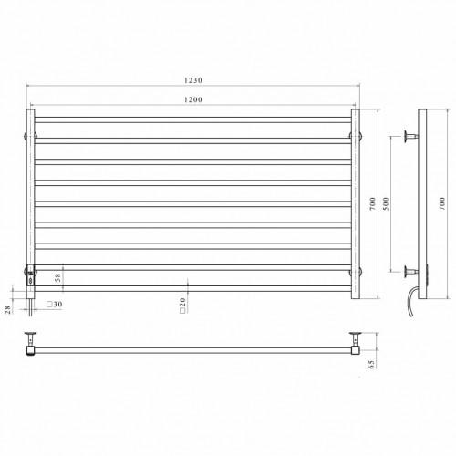купить электрический полотенцесушитель Level П9 1200х700 Э левое подключение (черный)