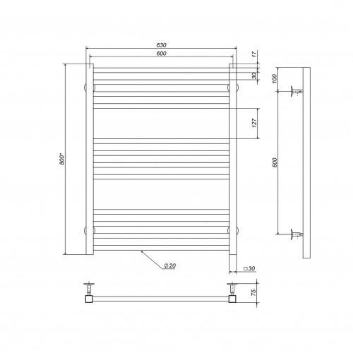 купить электрический полотенцесушитель Lima П12 600х800 Э правое подключение