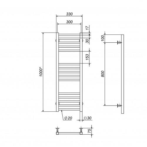 Рушникосушка електрична Lima П15 300х1000 Е праве підключення
