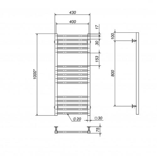 Рушникосушка електрична Lima П15 400х1000 Е праве підключення