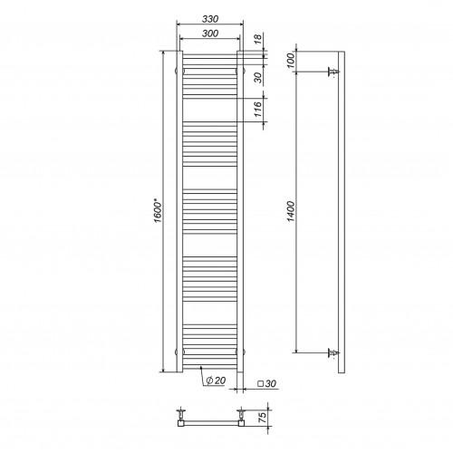 Рушникосушка електрична Lima П25 300х1600 Е праве підключення