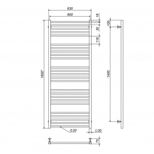 купить электрический полотенцесушитель Lima П25 600х1600 Э левое подключение