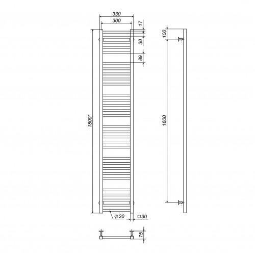 купить электрический полотенцесушитель Lima П30 300х1800 Э правое подключение