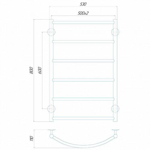 купить электрический полотенцесушитель Классик П7 500x800 Э левое подключение