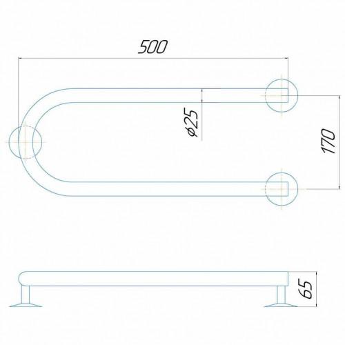 Рушникосушка електрична Змійка 500/170 Е ліве підключення