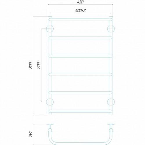 купить электрический полотенцесушитель Стандарт П6 400x800 Э левое подключение