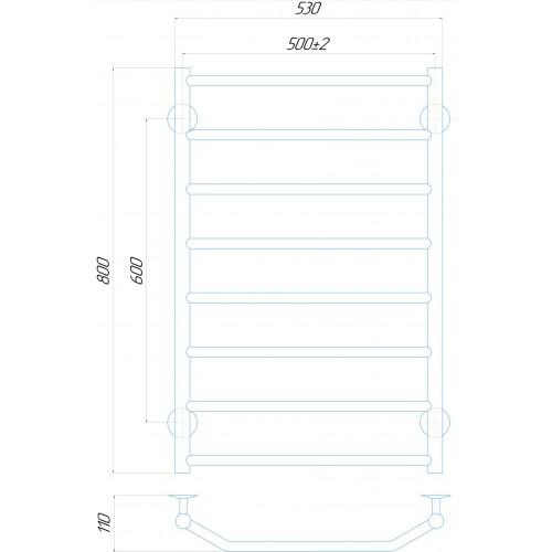 Рушникосушка електрична Трапеція П8 500x800 ЧФ праве підключення (білий)