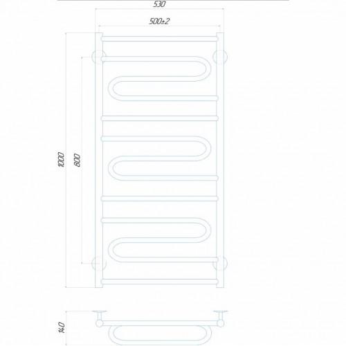 Рушникосушка електрична Віла 500x1000 Е праве підключення