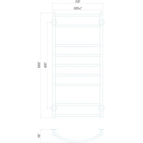 Рушникосушка електрична Класік Еліт П9 500x1000 Е праве підключення