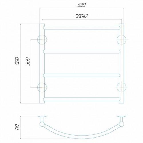 Рушникосушка електрична Класік П5 500x500 Е праве підключення
