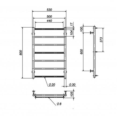Рушникосушка електрична Лесенка П7 500х800 Е ліве підключення