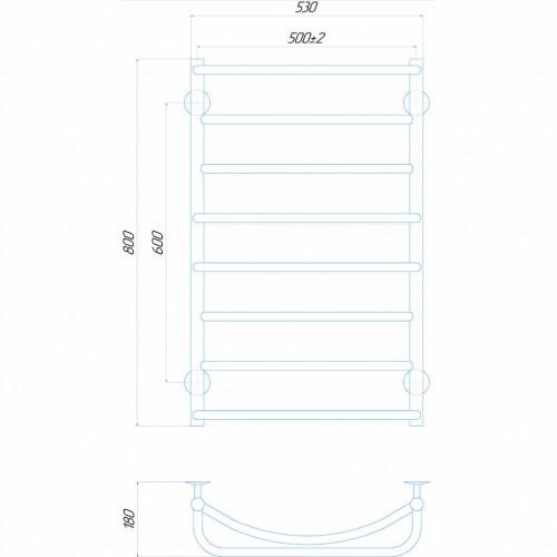 купить электрический полотенцесушитель Аквамикс П8 500x800 ЧФ левое подключение (черный)