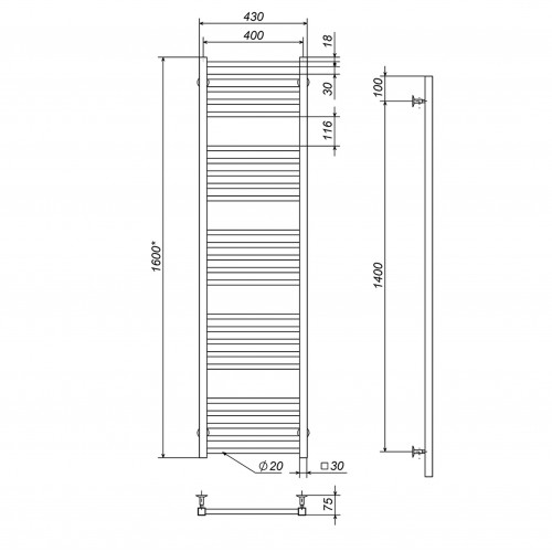 купить электрический полотенцесушитель Lima П25 400х1600 Э левое подключение