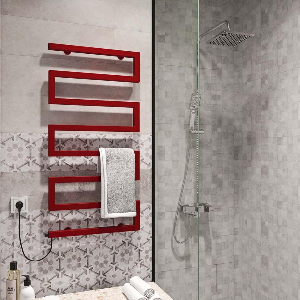 купить электрический полотенцесушитель Zeta 500х945 Э левое подключение (красный)